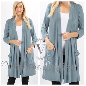 Slate blue gray cardigan